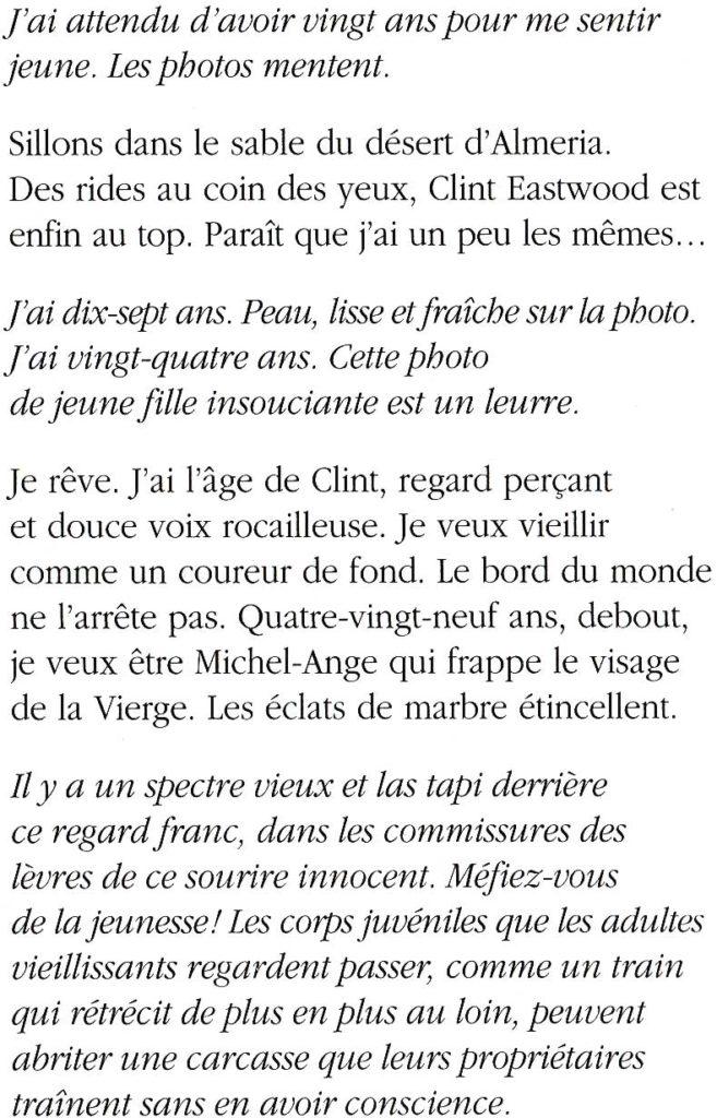"""""""Deux vies"""" fiction poétique de Cécile Desbrun et Jérémy Zucchi, parue dans """"Non, pas ce soir"""" (La Trame, 2011)"""