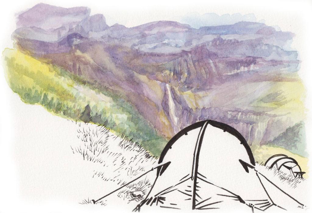 Camping au cirque de Gavarnie (aquarelle et feutre par Jérémy Zucchi).