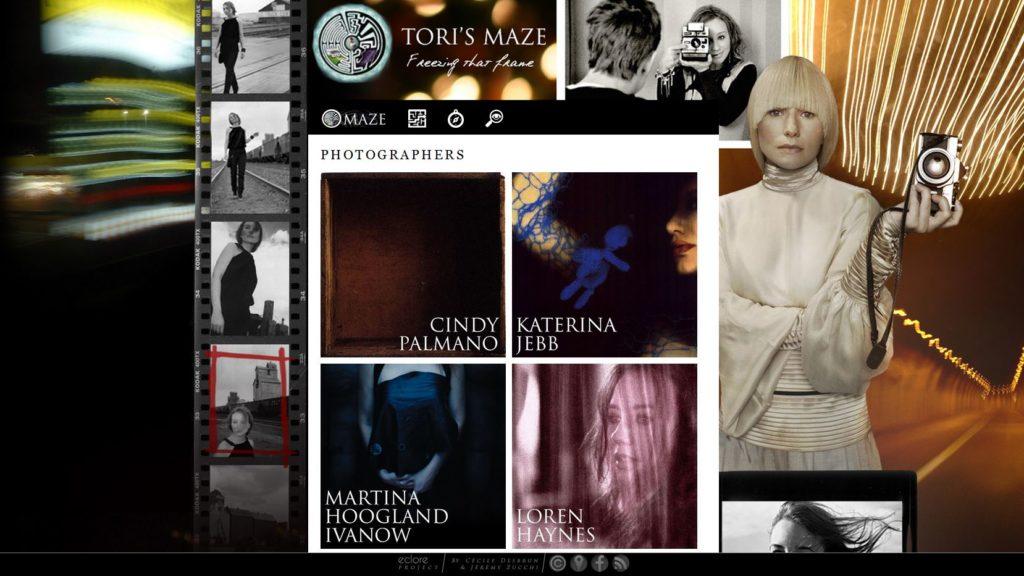 Page consacrée aux photographes de Tori Amos, image du site web Torismaze.com, par Jérémy Zucchi (2010)