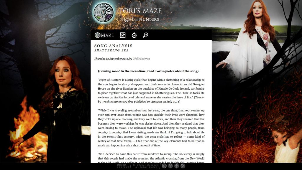 """Page consacrée à l'album """"Night of Hunters"""" de Tori Amos, image du site web Torismaze.com, par Jérémy Zucchi (2011)"""