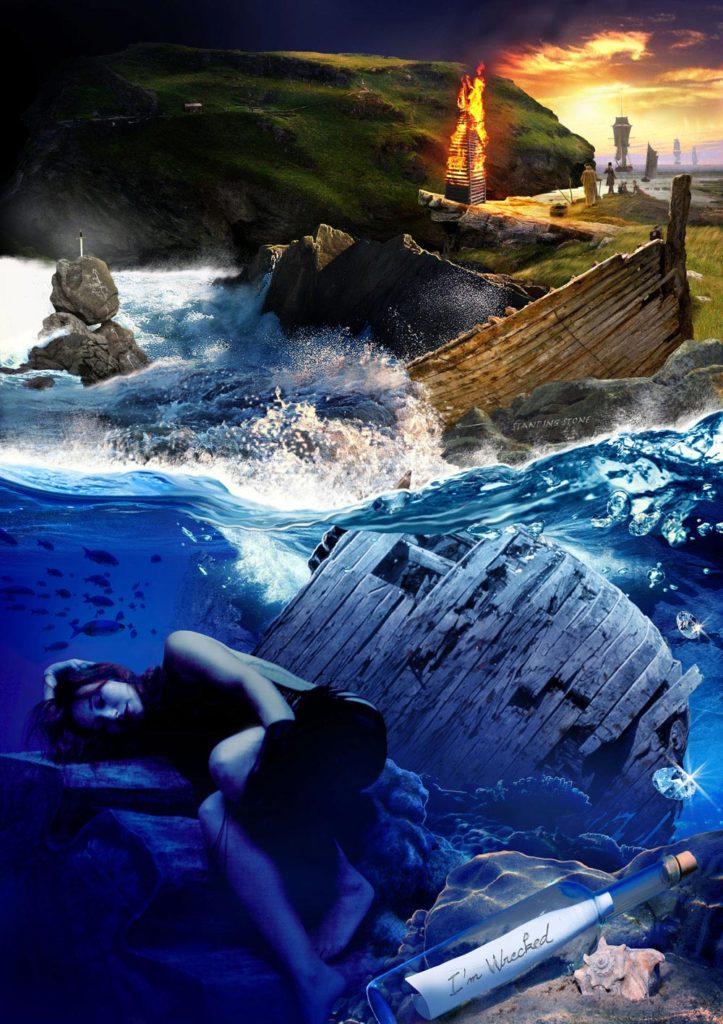 """""""I'm wrecked / Standing stone"""" : monde de Tori Amos, image du site web Torismaze.com, par Jérémy Zucchi (2010)"""